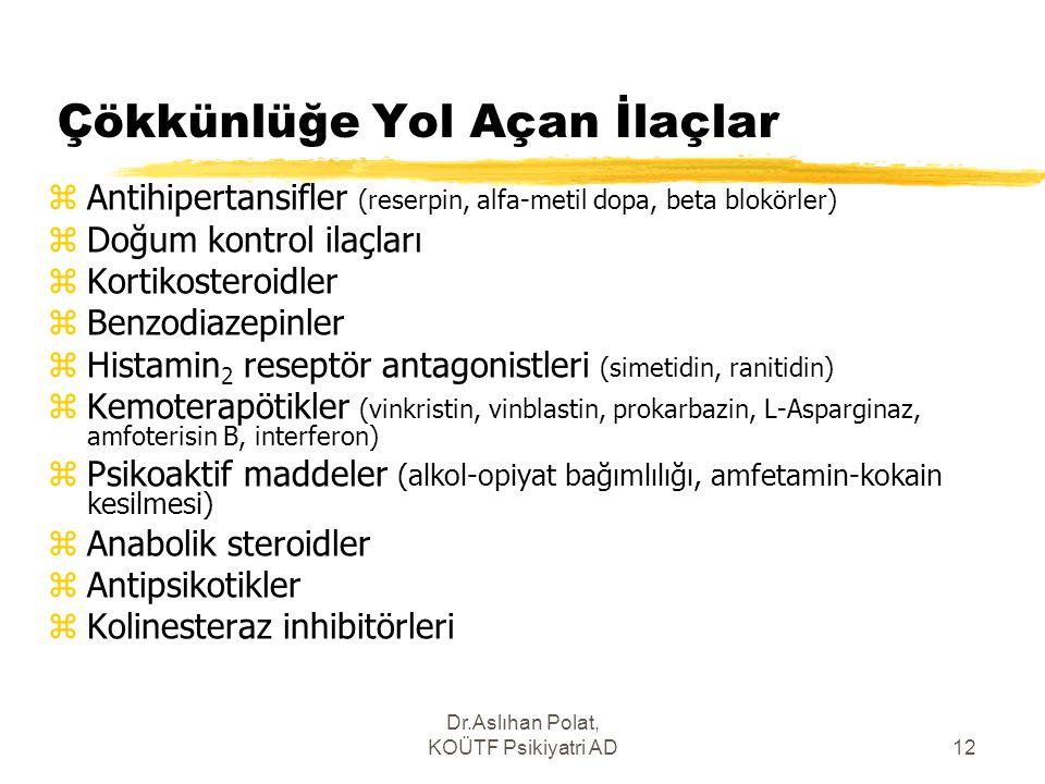 Dr.Aslıhan Polat, KOÜTF Psikiyatri AD12 Çökkünlüğe Yol Açan İlaçlar zAntihipertansifler (reserpin, alfa-metil dopa, beta blokörler) zDoğum kontrol ila