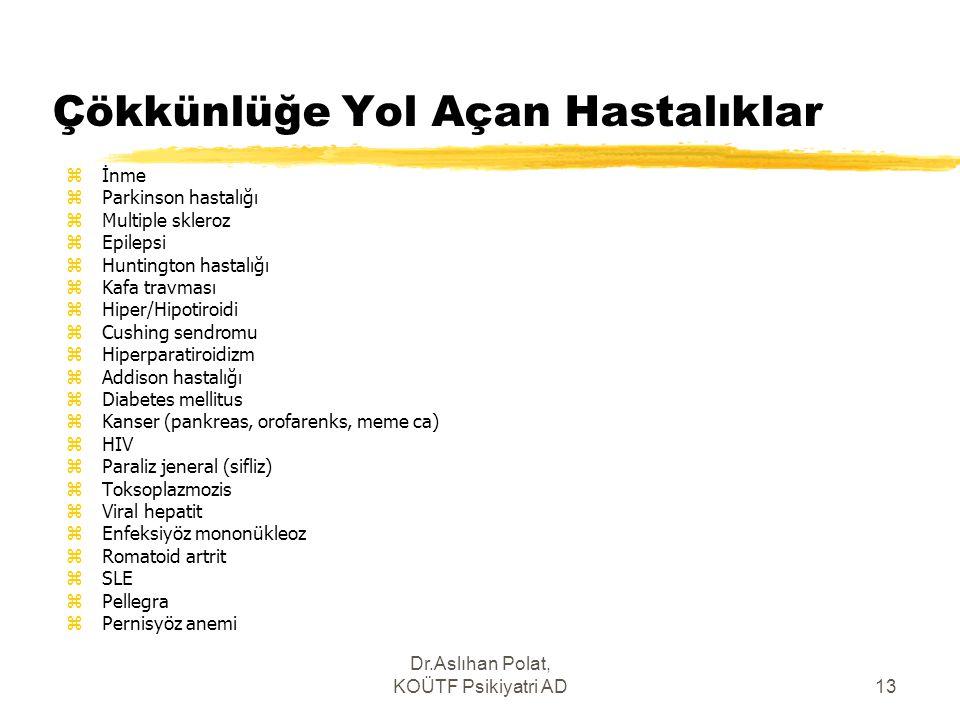 Dr.Aslıhan Polat, KOÜTF Psikiyatri AD13 Çökkünlüğe Yol Açan Hastalıklar zİnme zParkinson hastalığı zMultiple skleroz zEpilepsi zHuntington hastalığı z