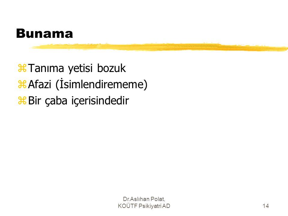 Dr.Aslıhan Polat, KOÜTF Psikiyatri AD14 Bunama zTanıma yetisi bozuk zAfazi (İsimlendirememe) zBir çaba içerisindedir