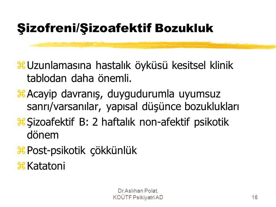 Dr.Aslıhan Polat, KOÜTF Psikiyatri AD16 Şizofreni/Şizoafektif Bozukluk zUzunlamasına hastalık öyküsü kesitsel klinik tablodan daha önemli. zAcayip dav
