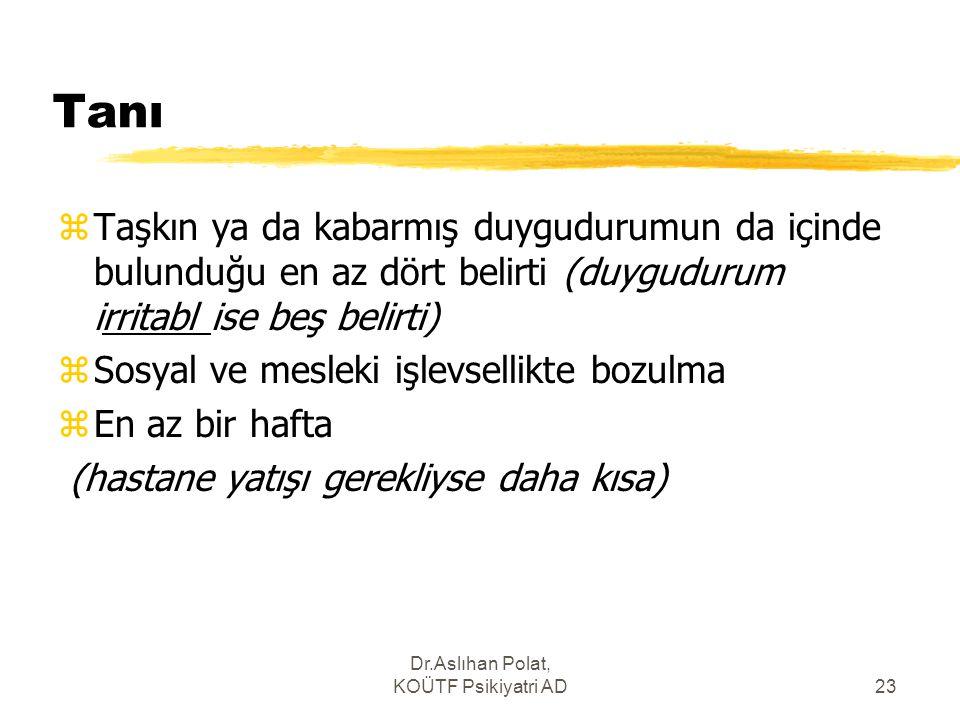 Dr.Aslıhan Polat, KOÜTF Psikiyatri AD23 Tanı zTaşkın ya da kabarmış duygudurumun da içinde bulunduğu en az dört belirti (duygudurum irritabl ise beş b