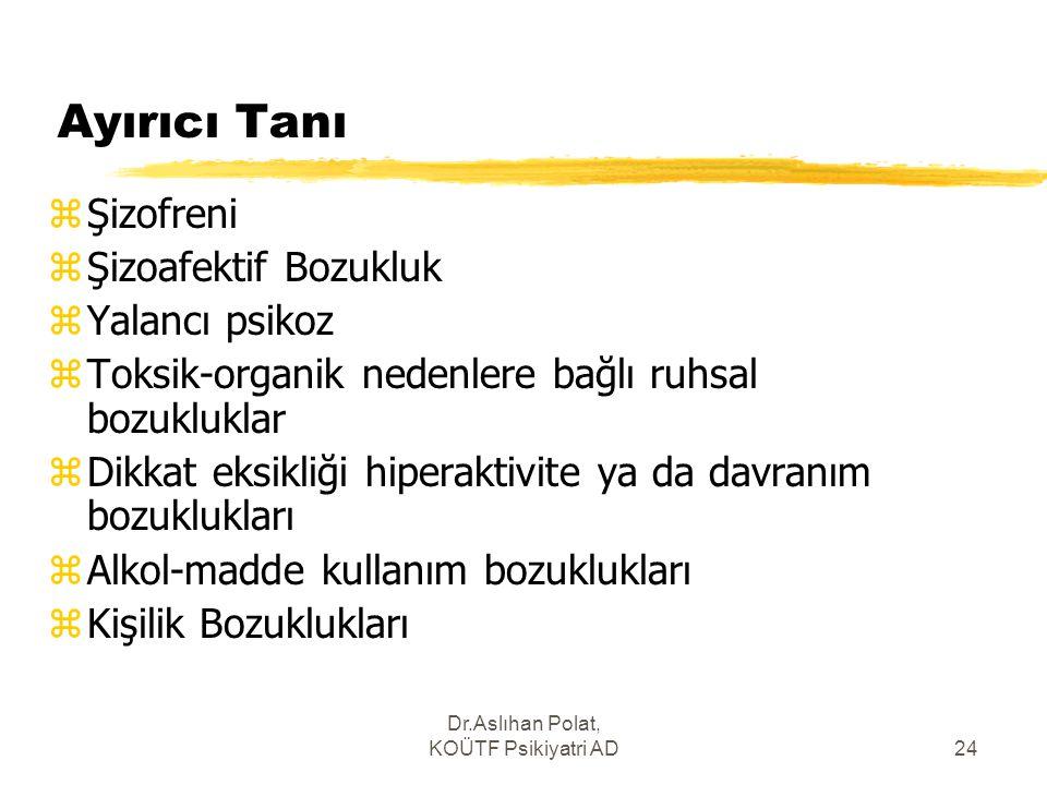 Dr.Aslıhan Polat, KOÜTF Psikiyatri AD24 Ayırıcı Tanı zŞizofreni zŞizoafektif Bozukluk zYalancı psikoz zToksik-organik nedenlere bağlı ruhsal bozuklukl