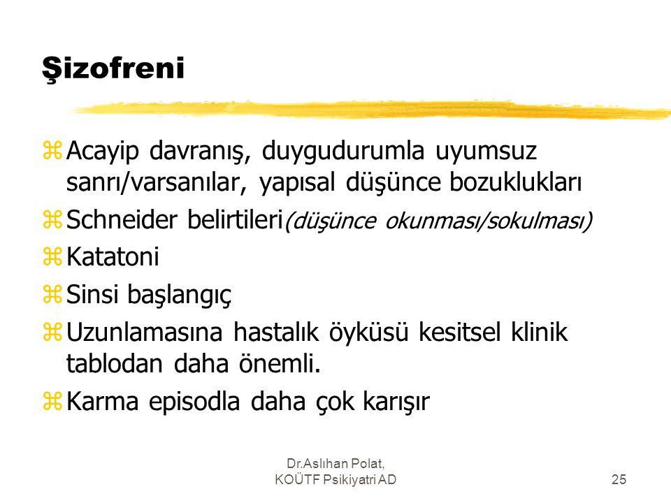 Dr.Aslıhan Polat, KOÜTF Psikiyatri AD25 Şizofreni zAcayip davranış, duygudurumla uyumsuz sanrı/varsanılar, yapısal düşünce bozuklukları zSchneider bel