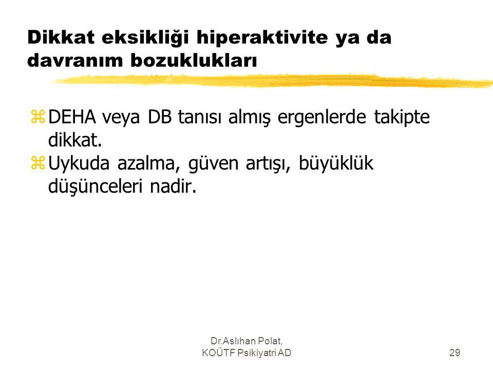 Dr.Aslıhan Polat, KOÜTF Psikiyatri AD29 Dikkat eksikliği hiperaktivite ya da davranım bozuklukları zDEHA veya DB tanısı almış ergenlerde takipte dikka