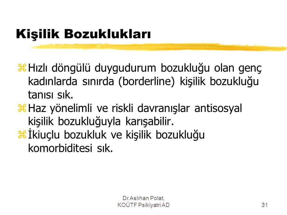 Dr.Aslıhan Polat, KOÜTF Psikiyatri AD31 Kişilik Bozuklukları zHızlı döngülü duygudurum bozukluğu olan genç kadınlarda sınırda (borderline) kişilik boz