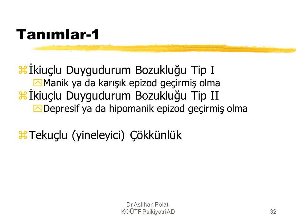 Dr.Aslıhan Polat, KOÜTF Psikiyatri AD32 Tanımlar-1 zİkiuçlu Duygudurum Bozukluğu Tip I yManik ya da karışık epizod geçirmiş olma zİkiuçlu Duygudurum B