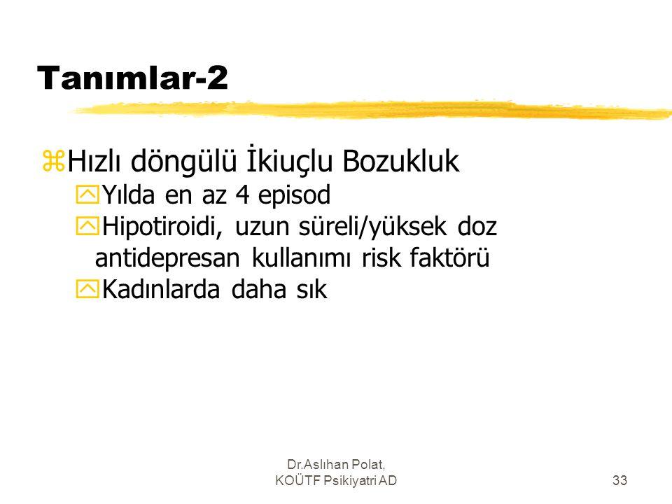 Dr.Aslıhan Polat, KOÜTF Psikiyatri AD33 Tanımlar-2 zHızlı döngülü İkiuçlu Bozukluk yYılda en az 4 episod yHipotiroidi, uzun süreli/yüksek doz antidepr