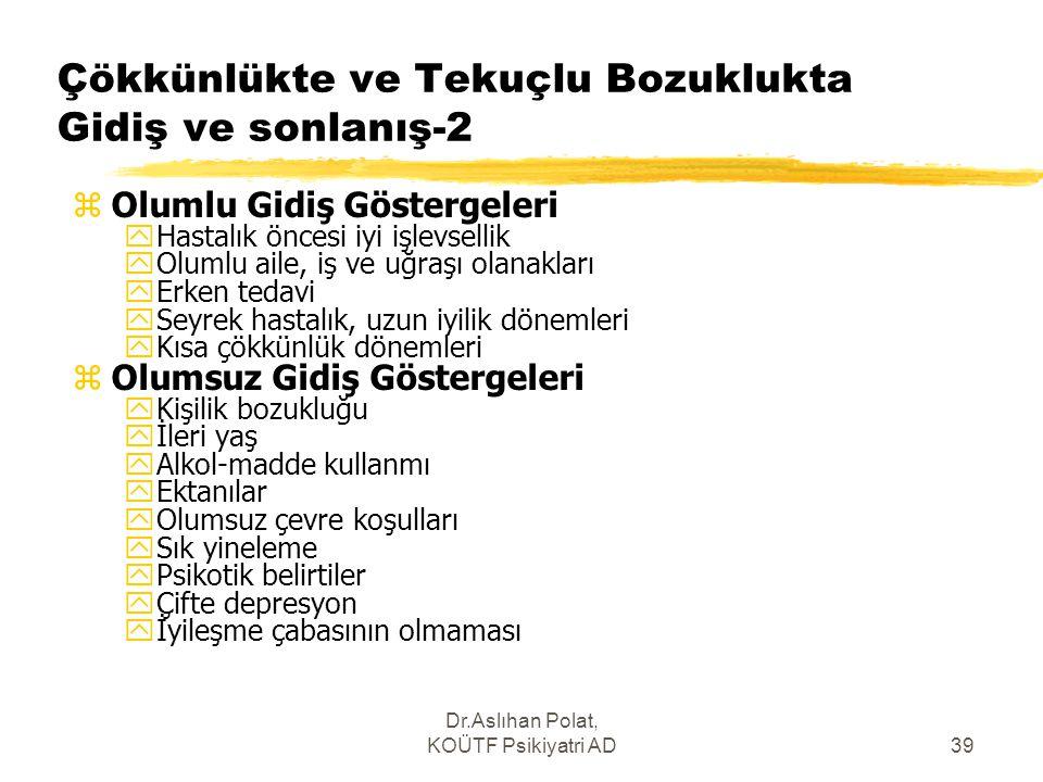 Dr.Aslıhan Polat, KOÜTF Psikiyatri AD39 Çökkünlükte ve Tekuçlu Bozuklukta Gidiş ve sonlanış-2 zOlumlu Gidiş Göstergeleri yHastalık öncesi iyi işlevsel