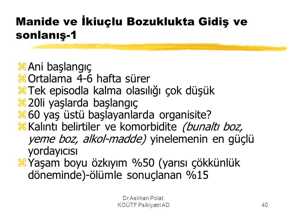 Dr.Aslıhan Polat, KOÜTF Psikiyatri AD40 Manide ve İkiuçlu Bozuklukta Gidiş ve sonlanış-1 zAni başlangıç zOrtalama 4-6 hafta sürer zTek episodla kalma