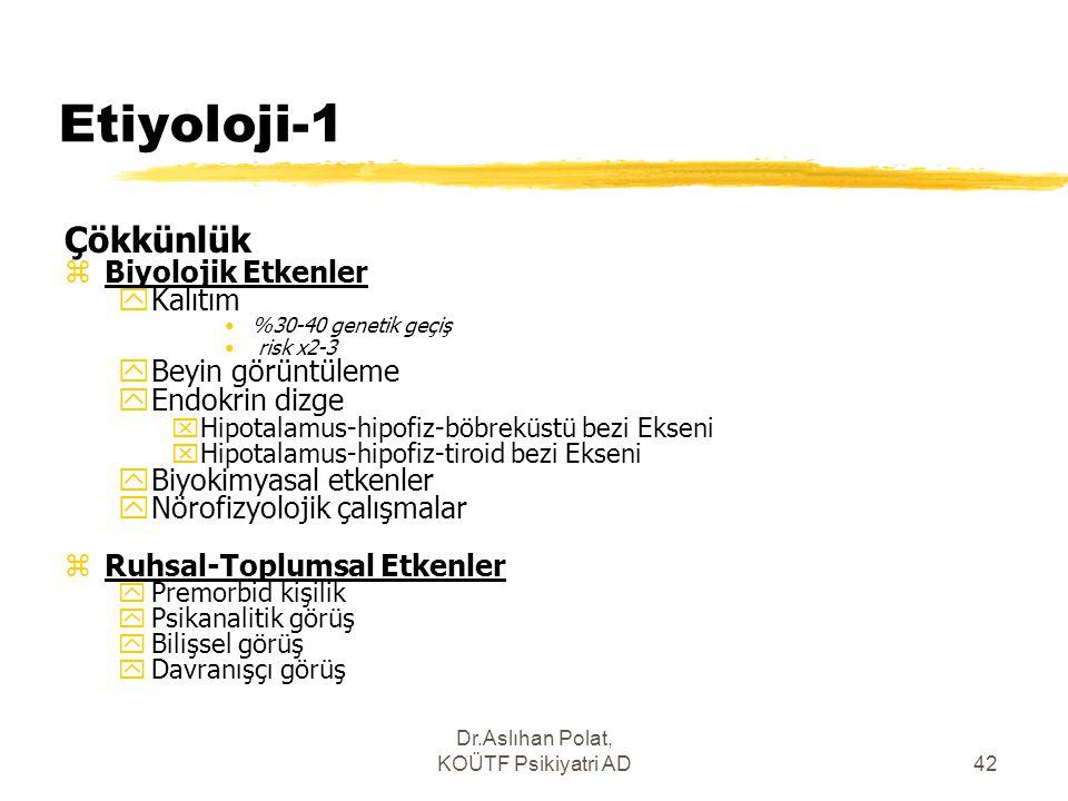 Dr.Aslıhan Polat, KOÜTF Psikiyatri AD42 Etiyoloji-1 Çökkünlük zBiyolojik Etkenler yKalıtım %30-40 genetik geçiş risk x2-3 yBeyin görüntüleme yEndokrin