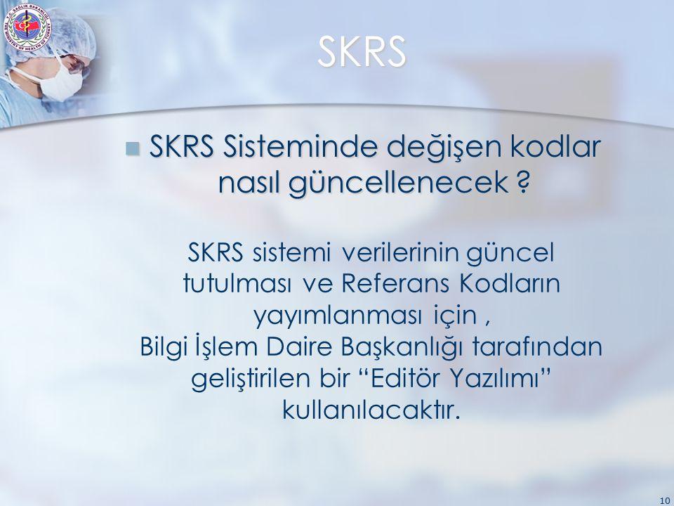 10 SKRS SKRS Sisteminde değişen kodlar nasıl güncellenecek .