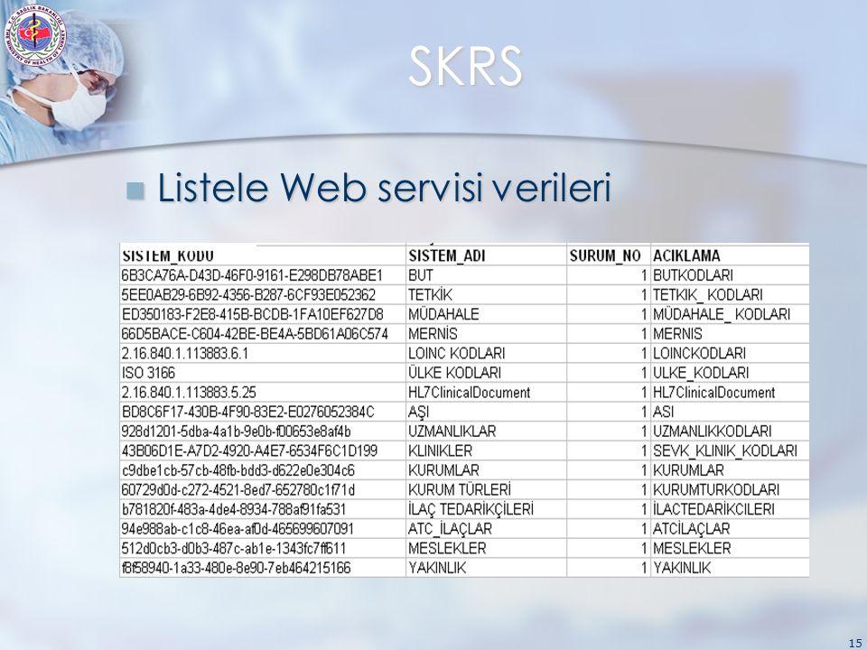 15 SKRS Listele Web servisi verileri Listele Web servisi verileri