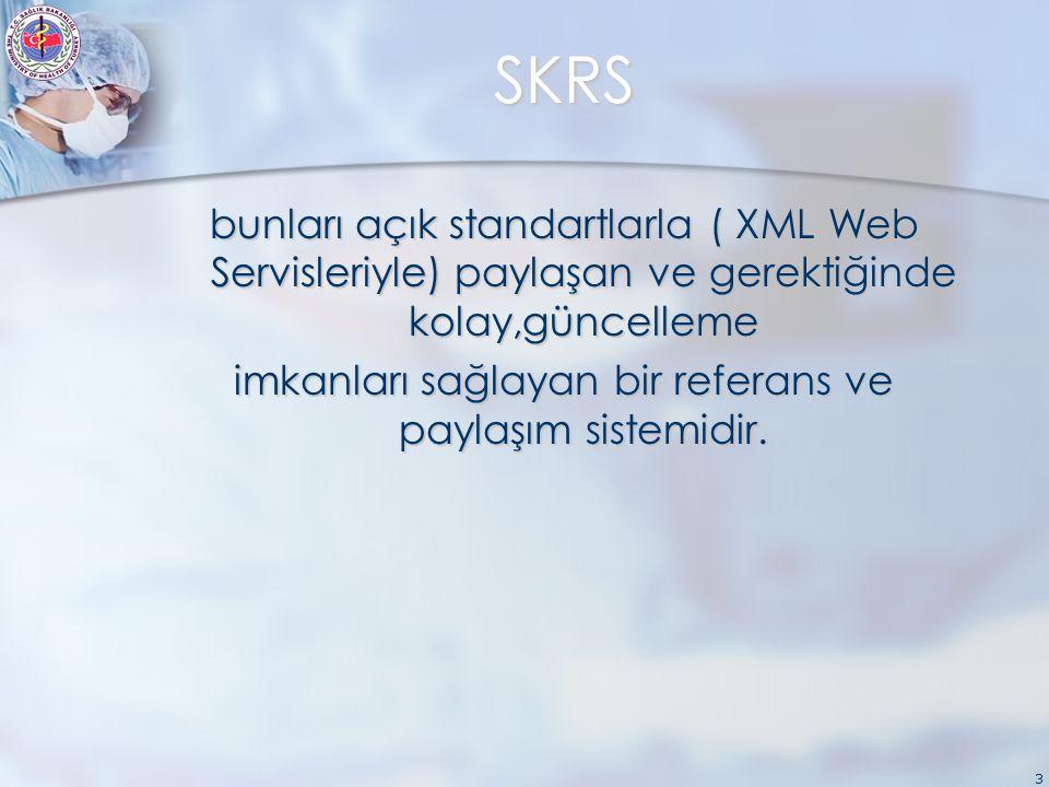 3 SKRS bunları açık standartlarla ( XML Web Servisleriyle) paylaşan ve gerektiğinde kolay,güncelleme imkanları sağlayan bir referans ve paylaşım sistemidir.