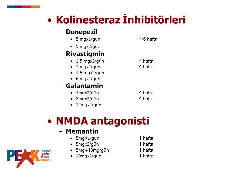 Kolinesteraz İnhibitörleri –Donepezil 5 mgx1/gün 4/6 hafta 5 mgx2/gün –Rivastigmin 1.5 mgx2/gün 4 hafta 3 mgx2/gün4 hafta 4,5 mgx2/gün 6 mgx2/gün –Gal