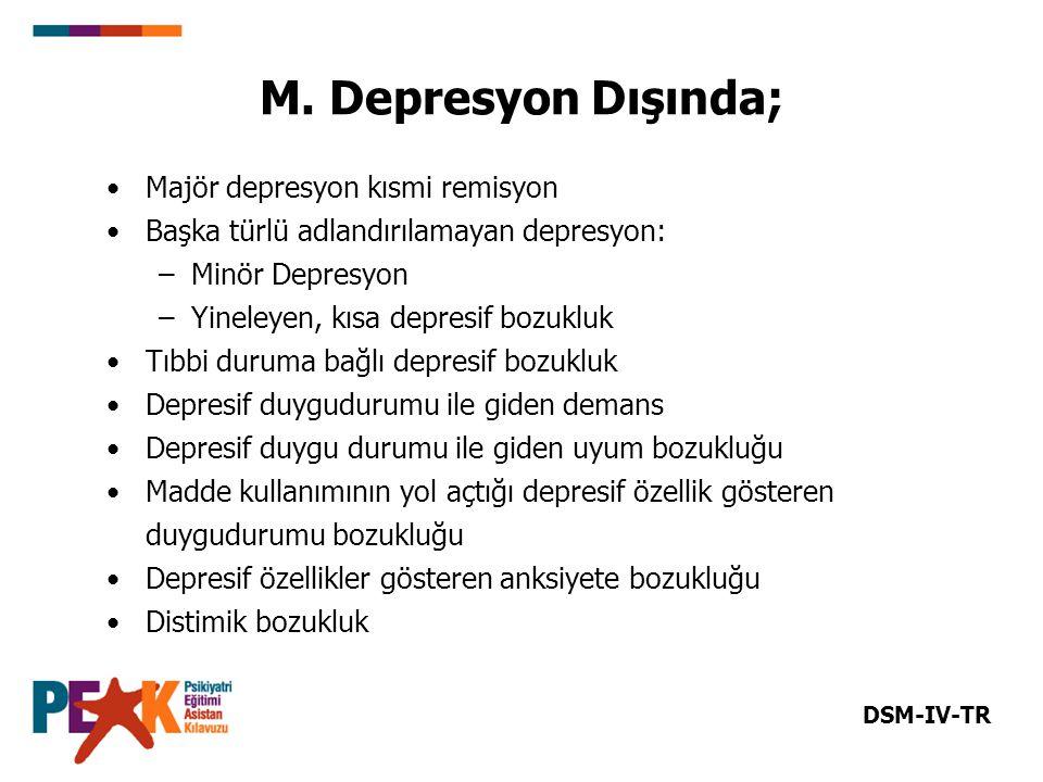 M. Depresyon Dışında; Majör depresyon kısmi remisyon Başka türlü adlandırılamayan depresyon: –Minör Depresyon –Yineleyen, kısa depresif bozukluk Tıbbi