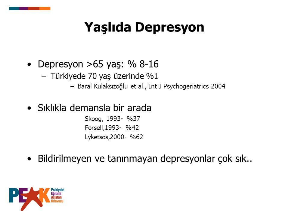 Yaşlıda Depresyon Depresyon >65 yaş: % 8-16 –Türkiyede 70 yaş üzerinde %1 –Baral Kulaksızoğlu et al., Int J Psychogeriatrics 2004 Sıklıkla demansla bi