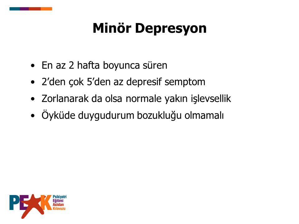 Minör Depresyon En az 2 hafta boyunca süren 2'den çok 5'den az depresif semptom Zorlanarak da olsa normale yakın işlevsellik Öyküde duygudurum bozuklu