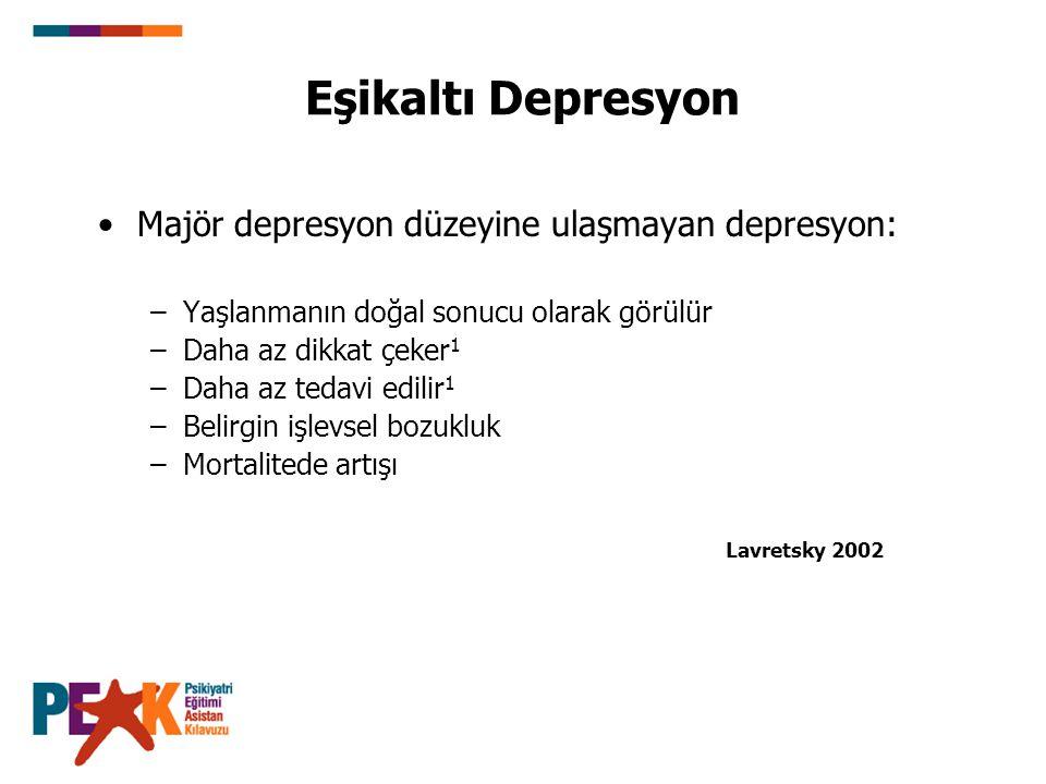 Majör depresyon düzeyine ulaşmayan depresyon: –Yaşlanmanın doğal sonucu olarak görülür –Daha az dikkat çeker 1 –Daha az tedavi edilir 1 –Belirgin işle