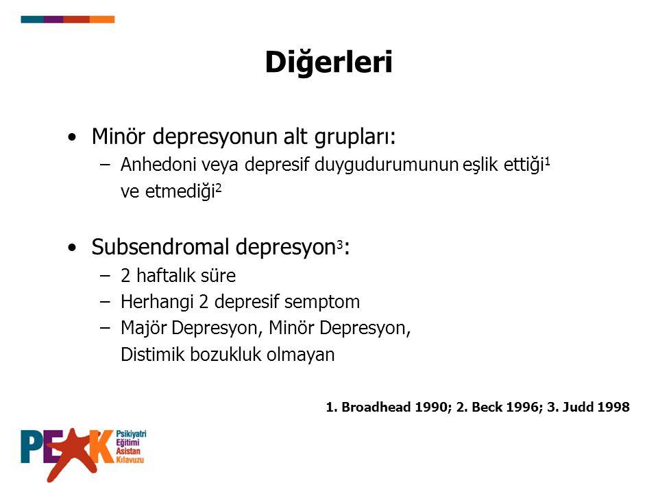 Diğerleri Minör depresyonun alt grupları: –Anhedoni veya depresif duygudurumunun eşlik ettiği 1 ve etmediği 2 Subsendromal depresyon 3 : –2 haftalık s