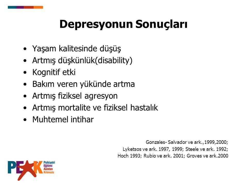 Depresyonun Sonuçları Yaşam kalitesinde düşüş Artmış düşkünlük(disability) Kognitif etki Bakım veren yükünde artma Artmış fiziksel agresyon Artmış mor
