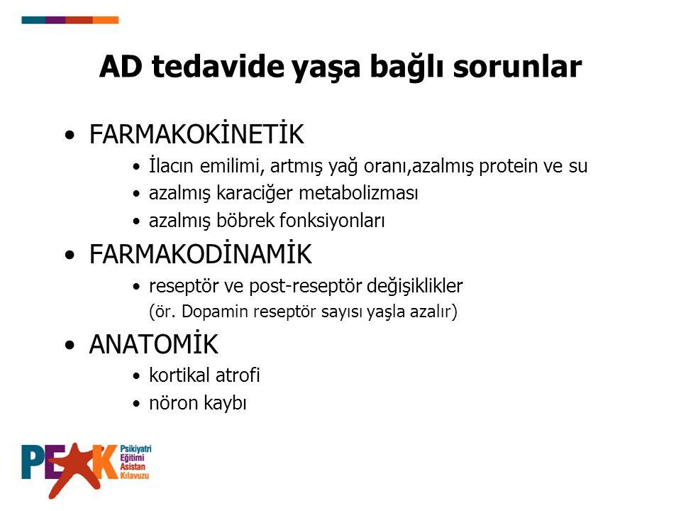AD tedavide yaşa bağlı sorunlar FARMAKOKİNETİK İlacın emilimi, artmış yağ oranı,azalmış protein ve su azalmış karaciğer metabolizması azalmış böbrek f