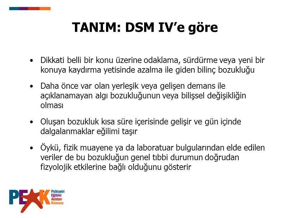 TANIM: DSM IV'e göre Dikkati belli bir konu üzerine odaklama, sürdürme veya yeni bir konuya kaydırma yetisinde azalma ile giden bilinç bozukluğu Daha