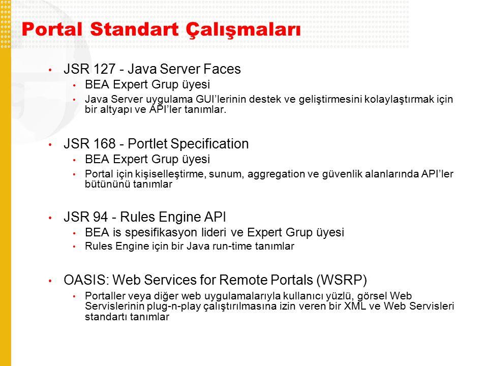 Portal Standart Çalışmaları JSR 127 - Java Server Faces BEA Expert Grup üyesi Java Server uygulama GUI'lerinin destek ve geliştirmesini kolaylaştırmak için bir altyapı ve API'ler tanımlar.