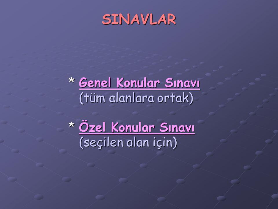 SINAVLAR *Genel Konular Sınavı (tüm alanlara ortak) *Özel Konular Sınavı (seçilen alan için)