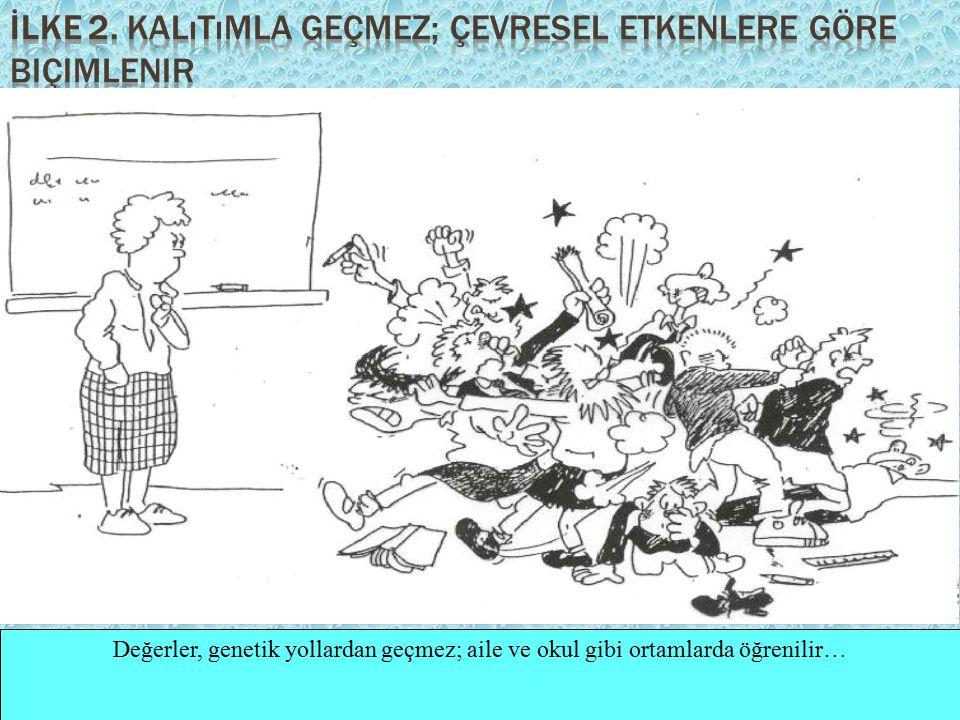 Değerler, genetik yollardan geçmez; aile ve okul gibi ortamlarda öğrenilir…