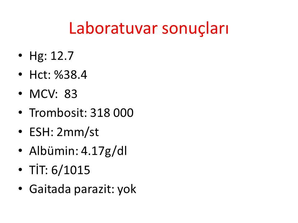 Laboratuvar sonuçları Hg: 12.7 Hct: %38.4 MCV: 83 Trombosit: 318 000 ESH: 2mm/st Albümin: 4.17g/dl TİT: 6/1015 Gaitada parazit: yok