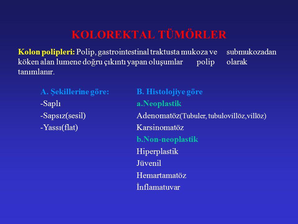 Kolon polipleri: Kolorektal poliplerin çoğunluğu adenomatöz poliplerdir.(tubüler, tubülovillöz, villöz) Adenomatöz polipler malignleşme potansiyeli olan benign oluşumlardır.