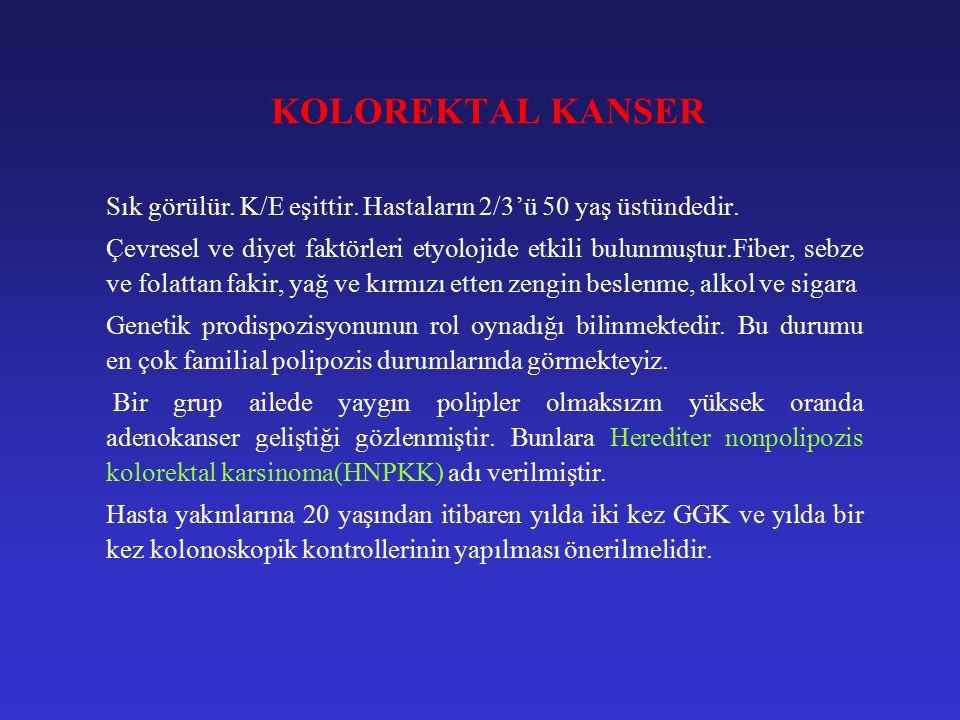 KOLOREKTAL KANSER Klinik: Rektumda ise, ağrı, tenezm, hematokezi; sigmoid'te ise, bağırsak alışkanlığında değişme, feçes kalibresinde incelme, obstrüksiyon; sağ kolonda ise, gizli kanama, demir eksikliği anemisi bulguları verir.