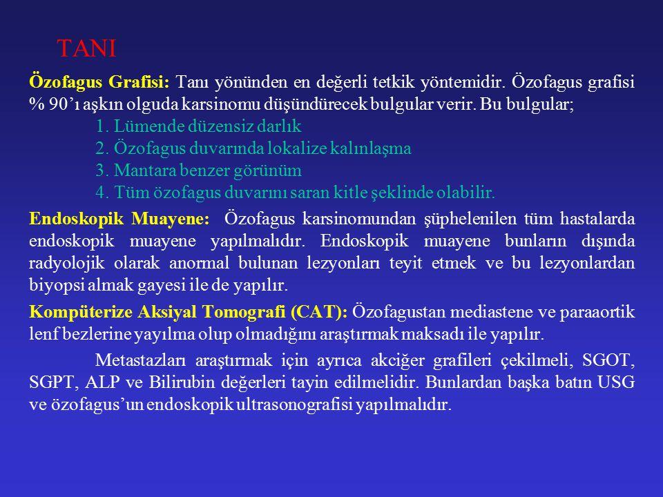 TANI Özofagus Grafisi: Tanı yönünden en değerli tetkik yöntemidir.