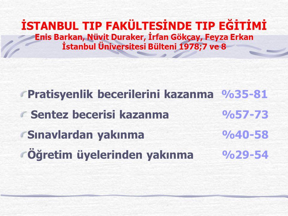 İSTANBUL TIP FAKÜLTESİNDE TIP EĞİTİMİ Enis Barkan, Nüvit Duraker, İrfan Gökçay, Feyza Erkan İstanbul Üniversitesi Bülteni 1978;7 ve 8 Pratisyenlik bec