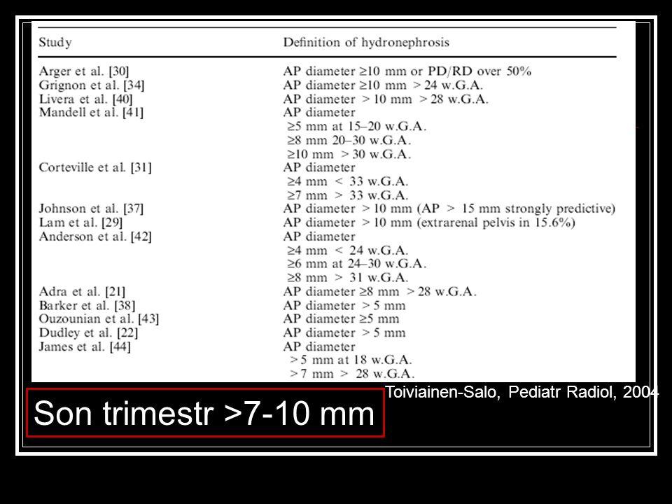 Toiviainen-Salo, Pediatr Radiol, 2004 Son trimestr >7-10 mm