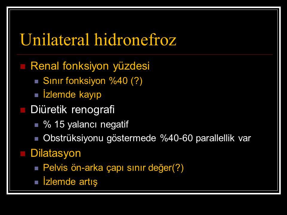 Unilateral hidronefroz Renal fonksiyon yüzdesi Sınır fonksiyon %40 (?) İzlemde kayıp Diüretik renografi % 15 yalancı negatif Obstrüksiyonu göstermede