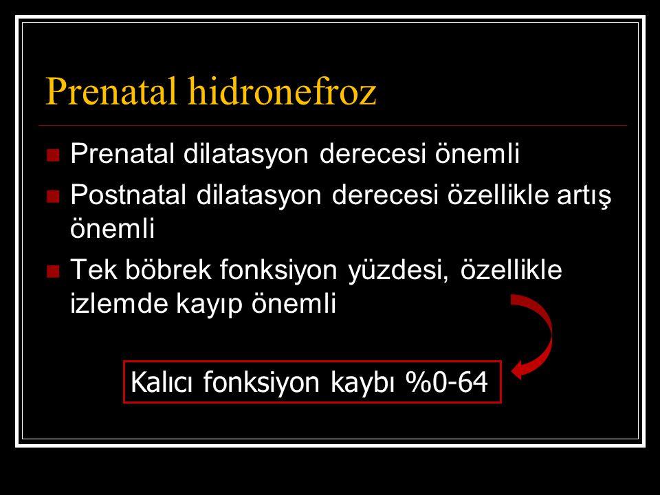 Prenatal hidronefroz Prenatal dilatasyon derecesi önemli Postnatal dilatasyon derecesi özellikle artış önemli Tek böbrek fonksiyon yüzdesi, özellikle
