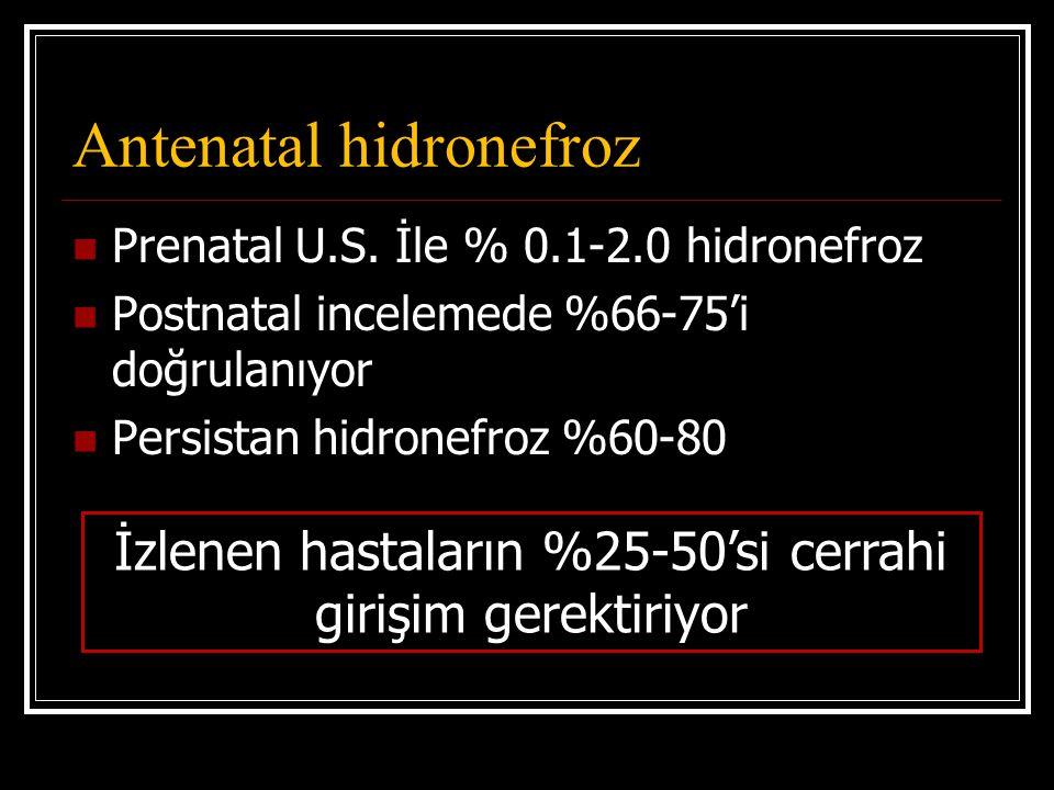 Antenatal hidronefroz Prenatal U.S. İle % 0.1-2.0 hidronefroz Postnatal incelemede %66-75'i doğrulanıyor Persistan hidronefroz %60-80 İzlenen hastalar