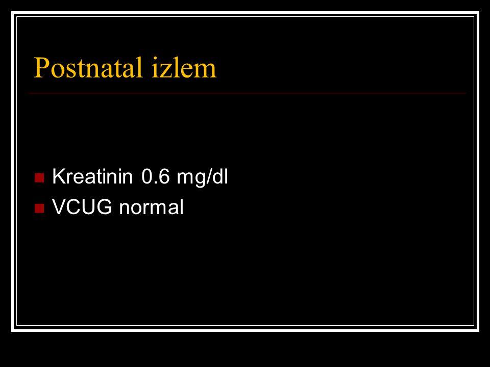 Postnatal izlem Kreatinin 0.6 mg/dl VCUG normal
