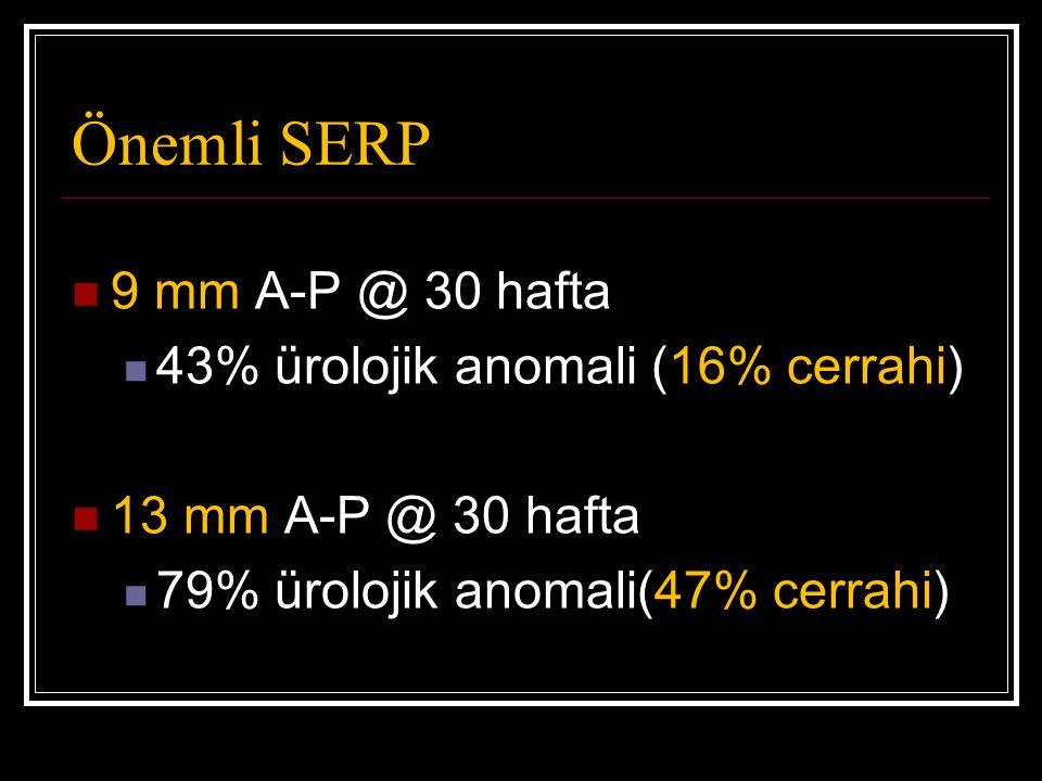 Önemli SERP 9 mm A-P @ 30 hafta 43% ürolojik anomali (16% cerrahi) 13 mm A-P @ 30 hafta 79% ürolojik anomali(47% cerrahi)