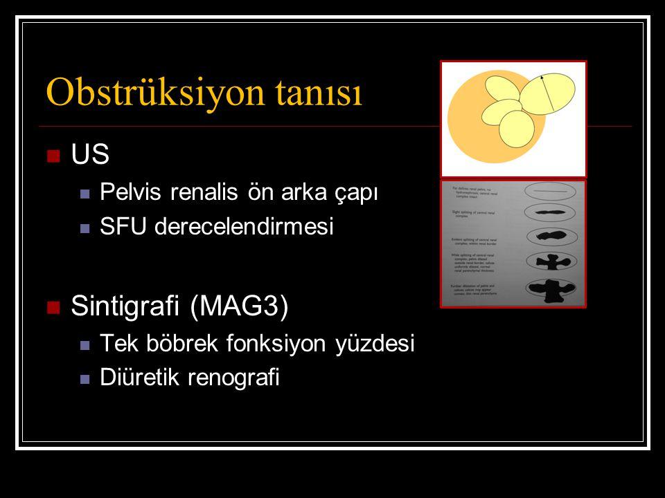 Obstrüksiyon tanısı US Pelvis renalis ön arka çapı SFU derecelendirmesi Sintigrafi (MAG3) Tek böbrek fonksiyon yüzdesi Diüretik renografi