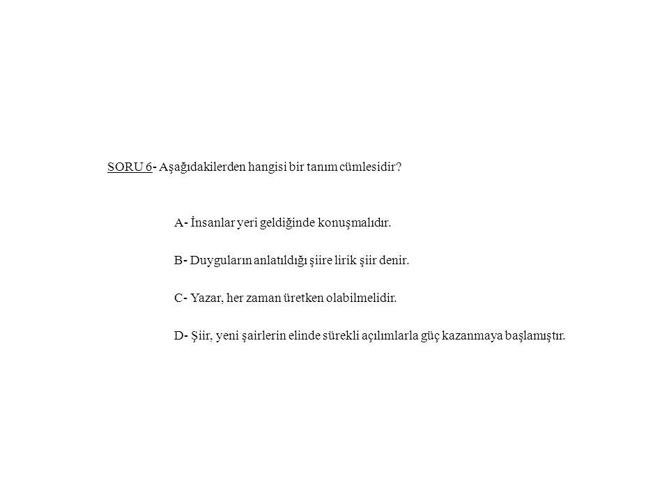 SORU 6- Aşağıdakilerden hangisi bir tanım cümlesidir.