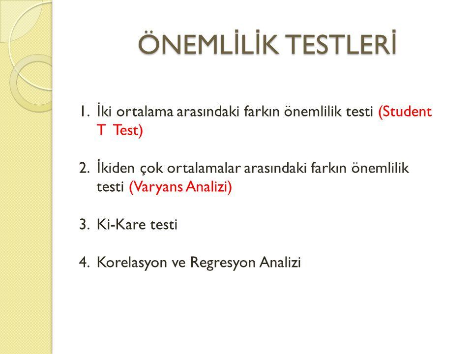ÖNEML İ L İ K TESTLER İ 1. İ ki ortalama arasındaki farkın önemlilik testi (Student T Test) 2. İ kiden çok ortalamalar arasındaki farkın önemlilik tes
