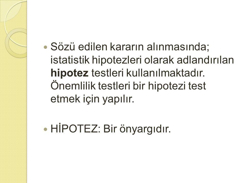 H İ POTEZ 2 tip hipotez vardır.