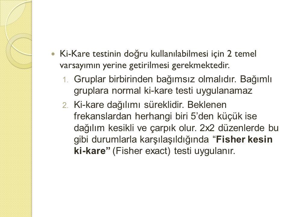 Ki-Kare testinin do ğ ru kullanılabilmesi için 2 temel varsayımın yerine getirilmesi gerekmektedir. 1. Gruplar birbirinden bağımsız olmalıdır. Bağımlı