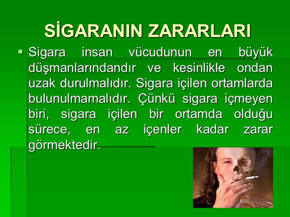 SİGARANIN ZARARLARI  Sigara insan vücudunun en büyük düşmanlarındandır ve kesinlikle ondan uzak durulmalıdır. Sigara içilen ortamlarda bulunulmamalıd