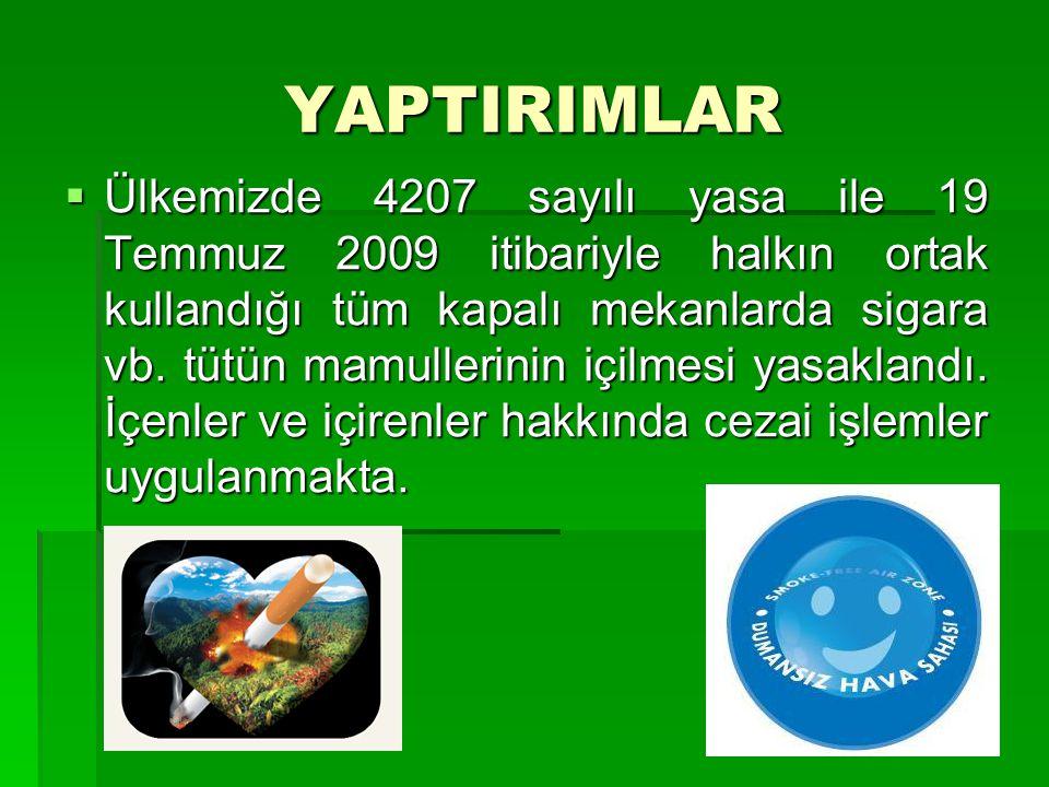 YAPTIRIMLAR  Ülkemizde 4207 sayılı yasa ile 19 Temmuz 2009 itibariyle halkın ortak kullandığı tüm kapalı mekanlarda sigara vb. tütün mamullerinin içi