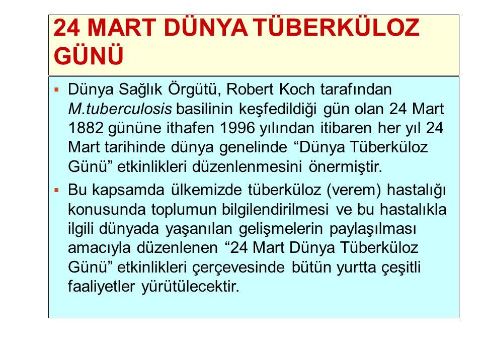 2 24 MART DÜNYA TÜBERKÜLOZ GÜNÜ  Dünya Sağlık Örgütü, Robert Koch tarafından M.tuberculosis basilinin keşfedildiği gün olan 24 Mart 1882 gününe ithaf