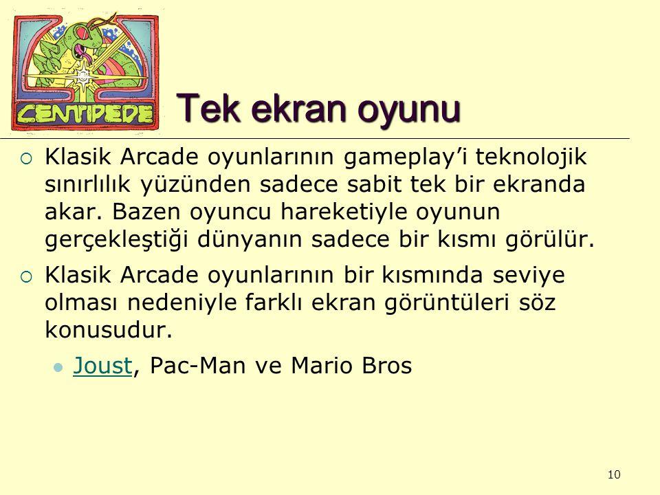 10 Tek ekran oyunu  Klasik Arcade oyunlarının gameplay'i teknolojik sınırlılık yüzünden sadece sabit tek bir ekranda akar. Bazen oyuncu hareketiyle o
