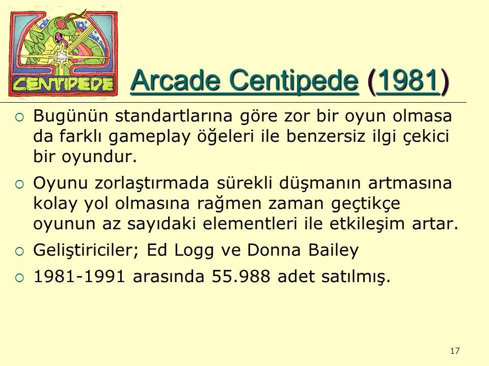 17 Arcade CentipedeArcade Centipede (1981) 1981 Arcade Centipede1981  Bugünün standartlarına göre zor bir oyun olmasa da farklı gameplay öğeleri ile benzersiz ilgi çekici bir oyundur.